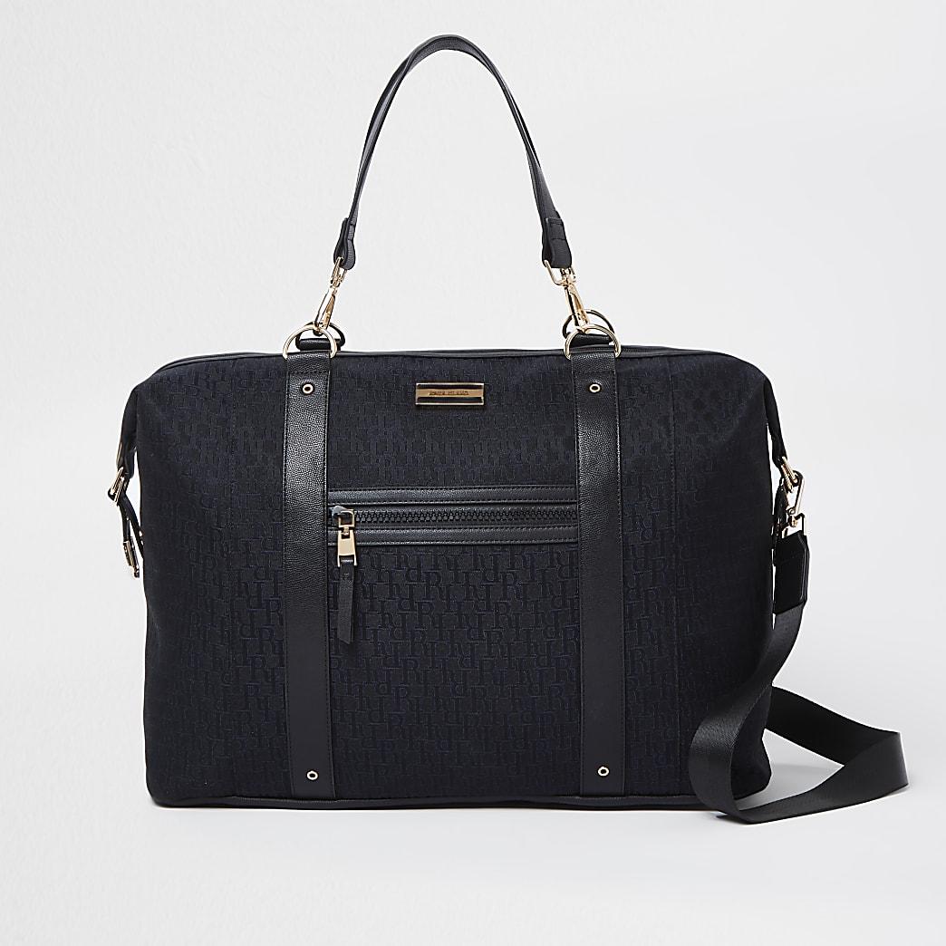 Black jacquard RI monogram holdall bag