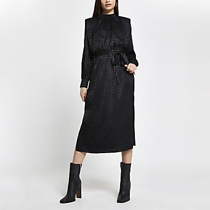 Black Jacquard Shoulder Pad Midi Dress