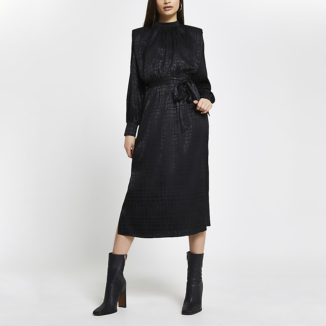 Black Jacquard Shoulder Pad Midi Dress