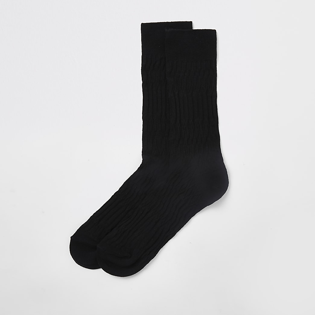 Black jacquard socks