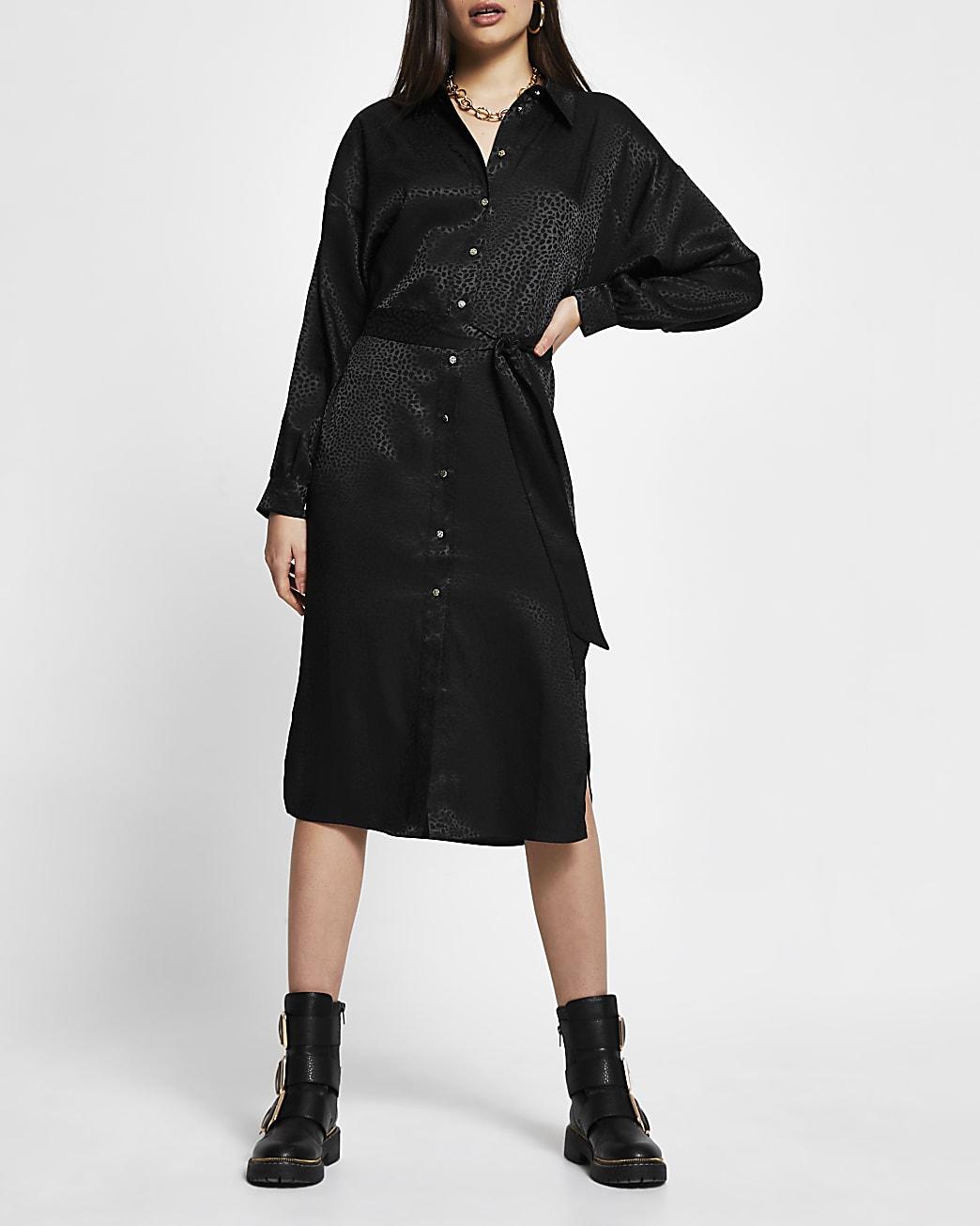Black jacquard tie belt shirt midi dress