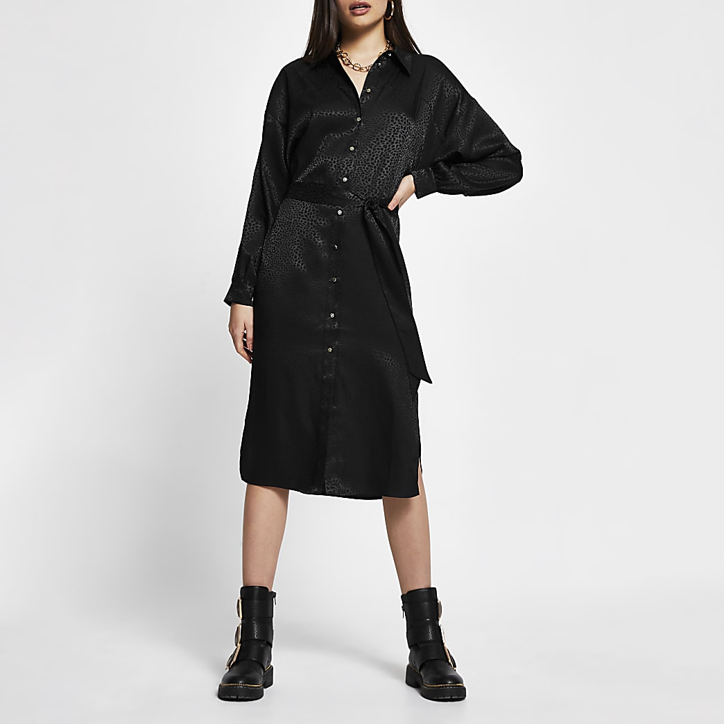 Black jacquard tie belt shirt midi dress