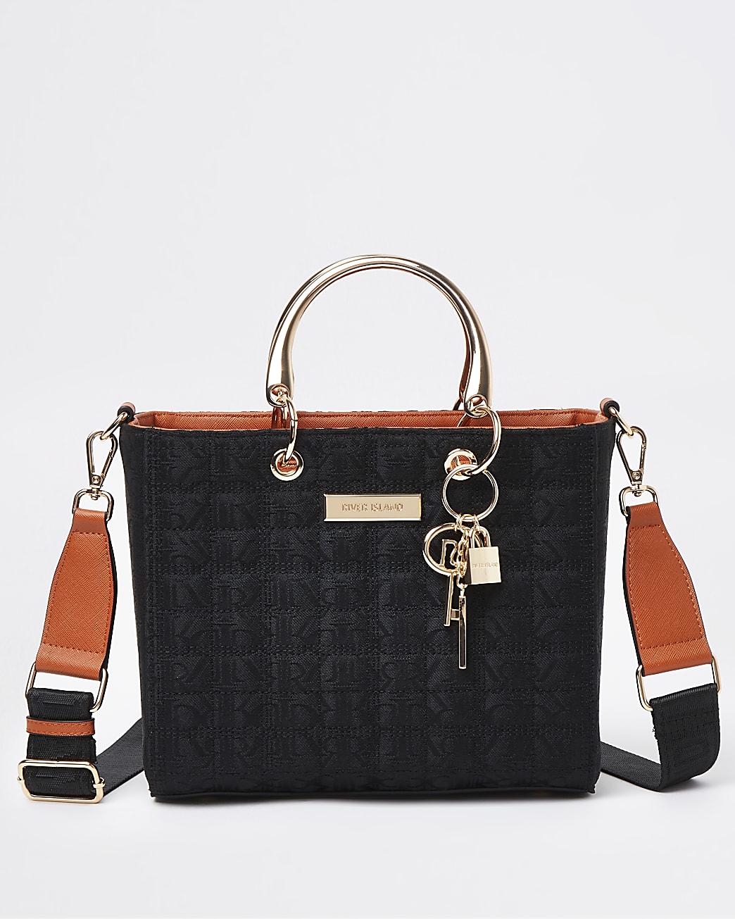 Black jacquard tote bag