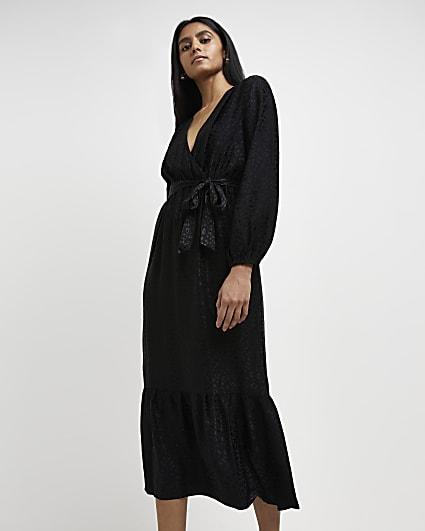 Black jacquard wrap midi dress