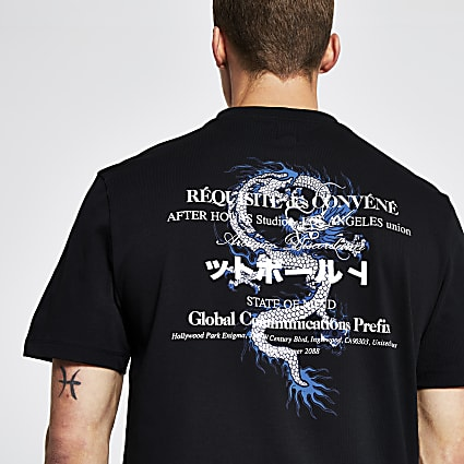 Black japanese back print regular fit t-shirt