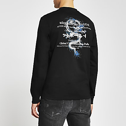 Black Japanese print long sleeve t-shirt