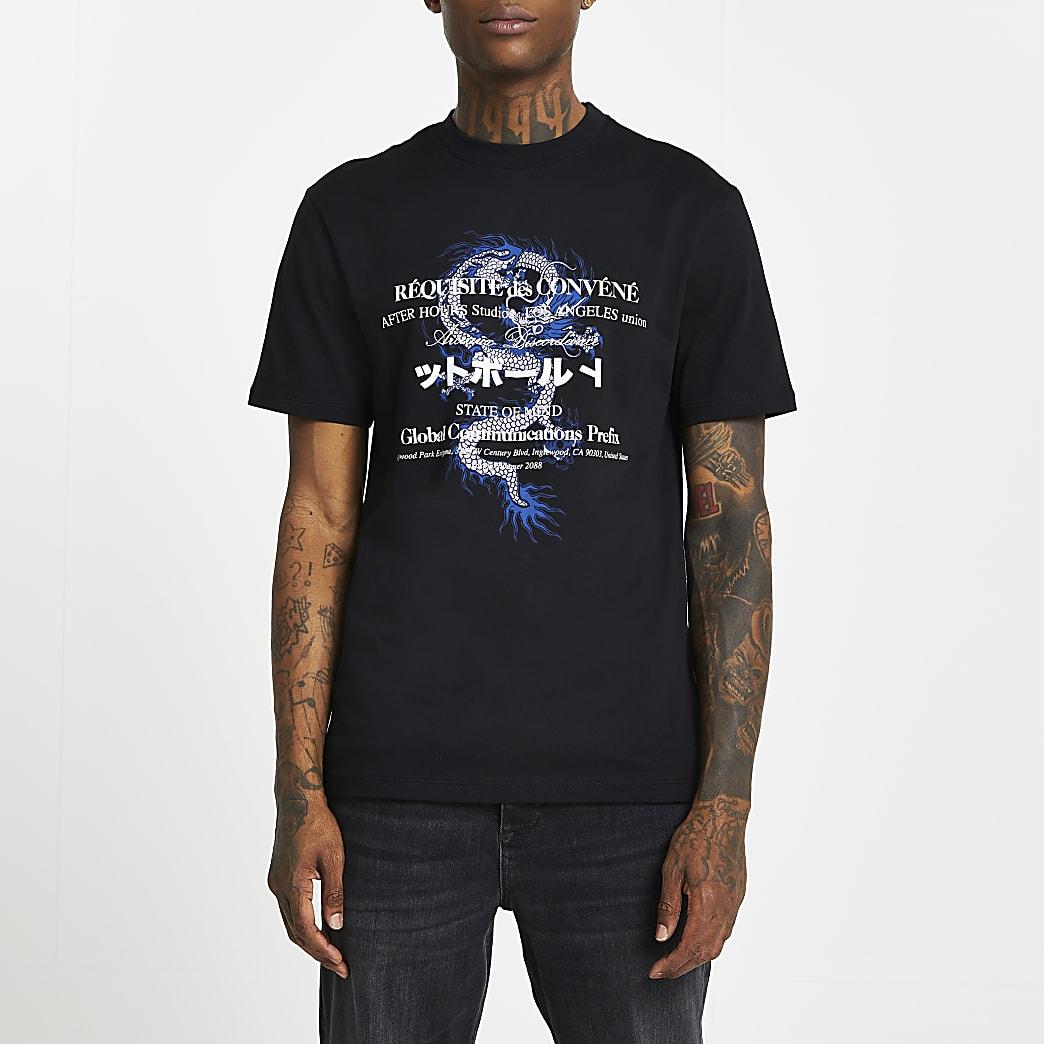 Black japanese print short sleeve t-shirt