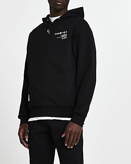 Black Japanese print slim fit hoodie