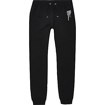 Black Japanese print slim fit joggers