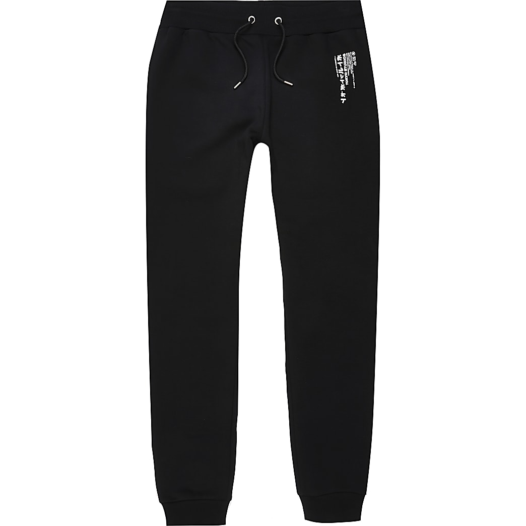 Black Japanese print slim fit joggers