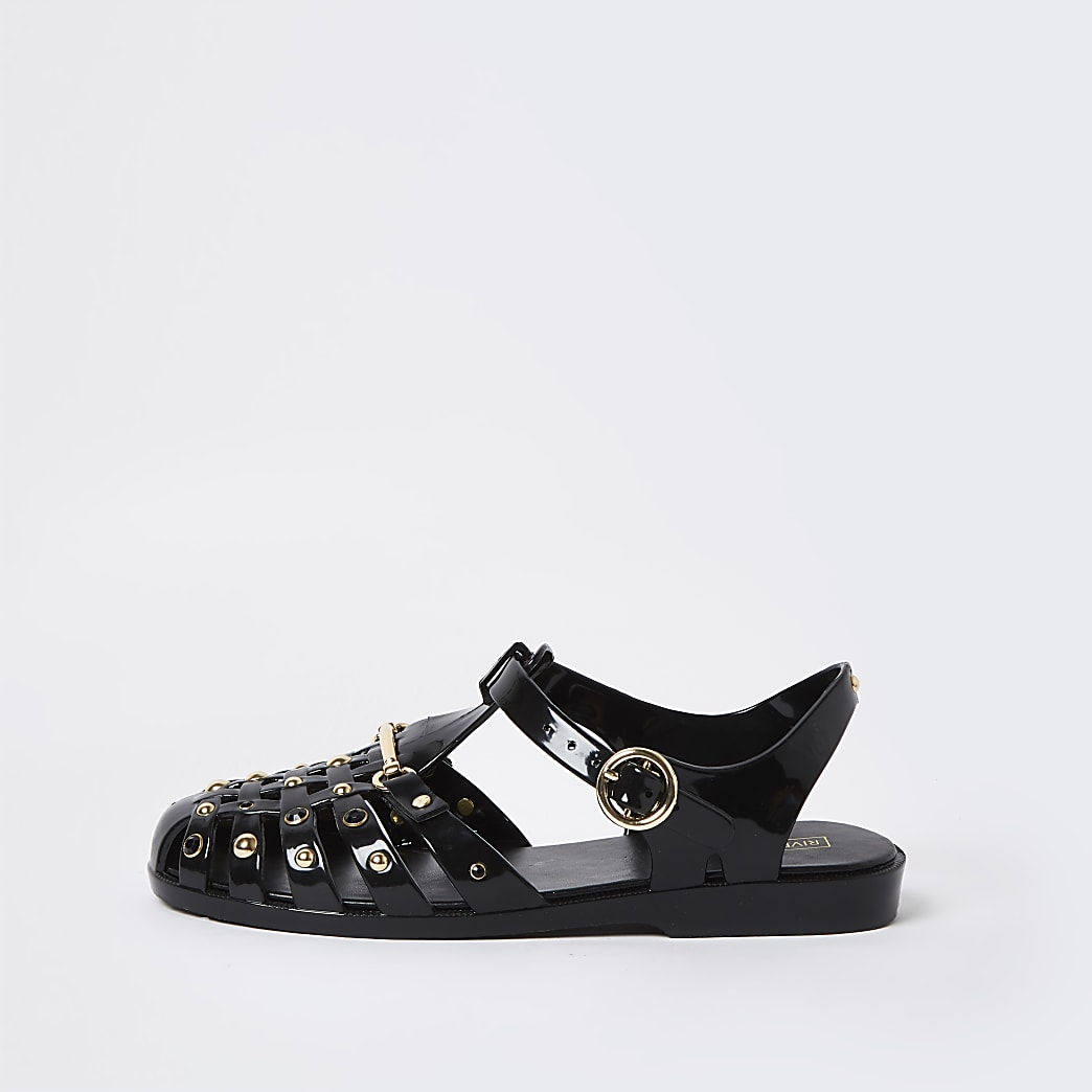 Black jelly gold studded sandal