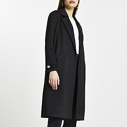 Black jersey longline duster jacket