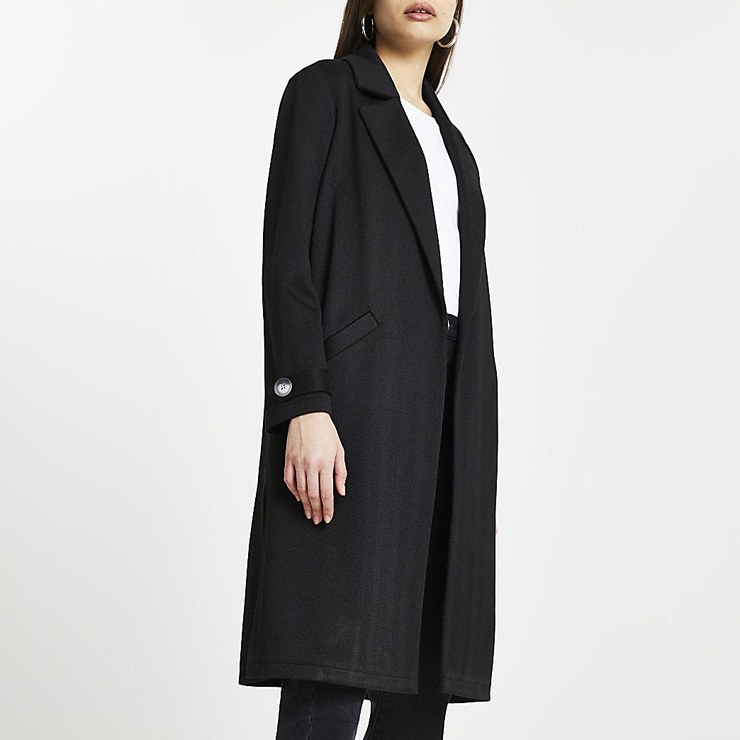 Black jersey longline duster jacket