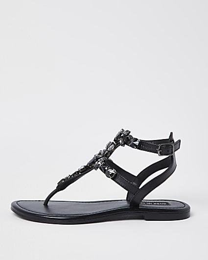 Black jewel embellished sandals