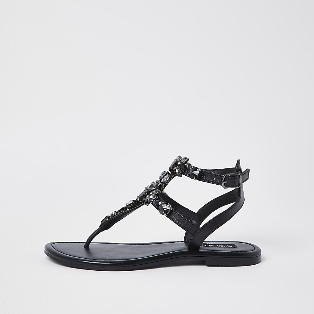 Black jewel embellished sandals