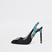 Black jewel embellished slingback court shoes