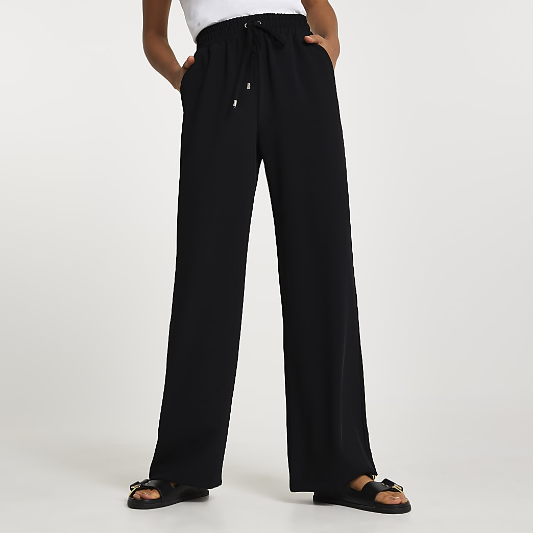 Black jogger waist wide leg trousers