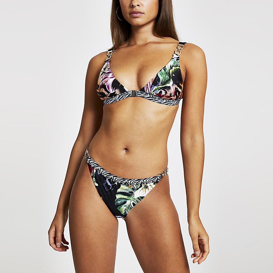 Black jungle print high leg bikini bottoms