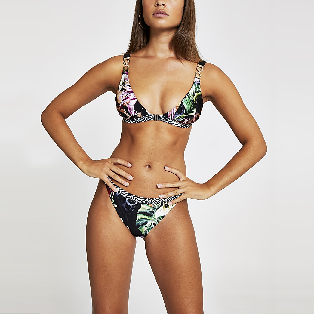 Black jungle print triangle bikini top