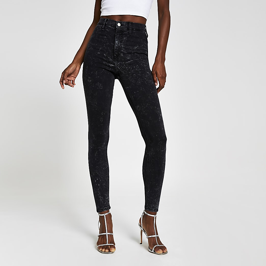 Black Kaia high rise acid disco jeans