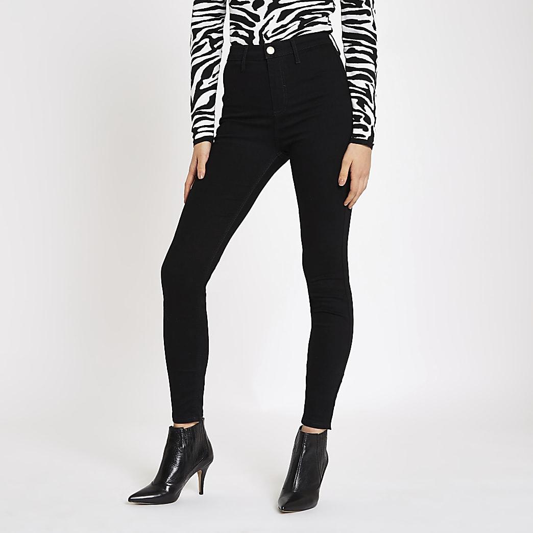 Kaia – Schwarze Disco-Jeans mit hohem Bund