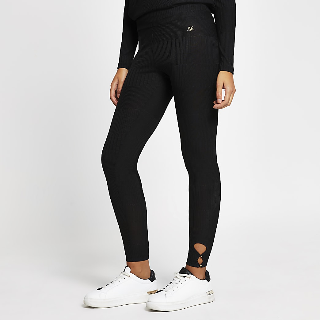 Black Keyhole Detail Leggings