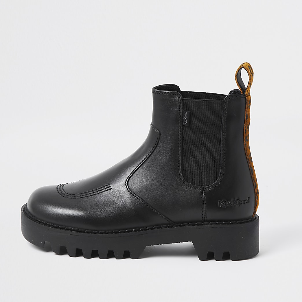 Black Kickers Chelsea ankle Boots
