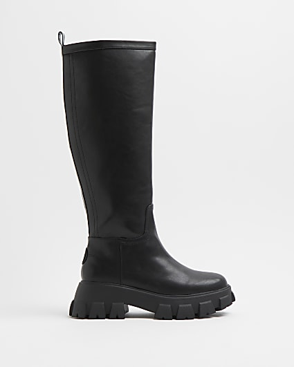 Black knee high rubber chunky boots