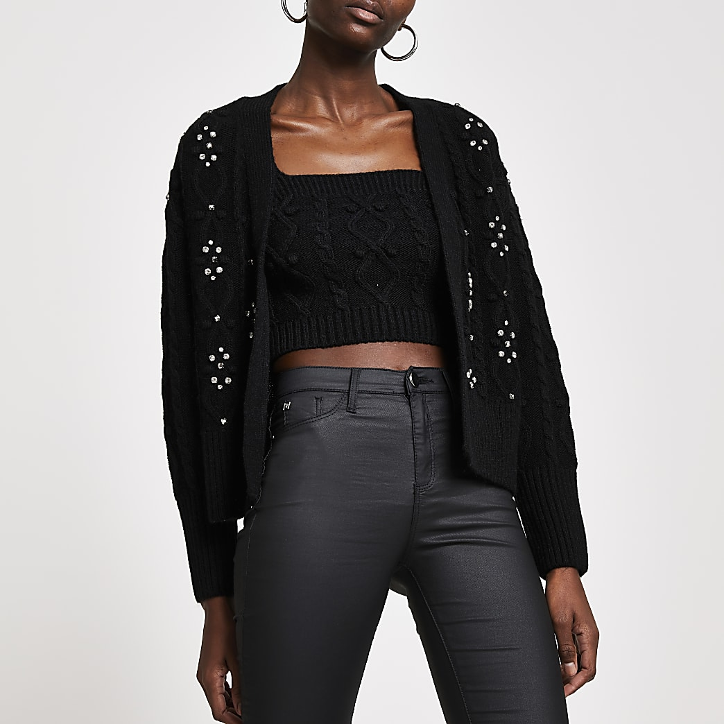 Black knit cardi and bralet set