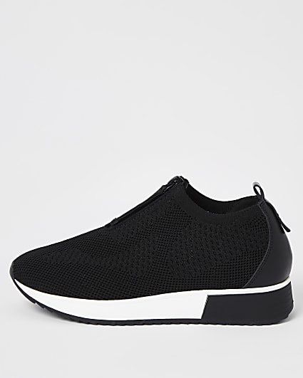 Black knit half zip cleated runner trainers