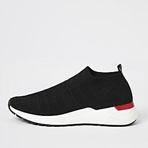 Zwarte gebreide sokvormige hardloop sneakers