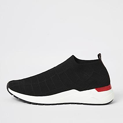 Black knit runner sock trainers