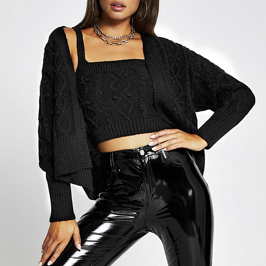 Black knitted cardigan and bralet set