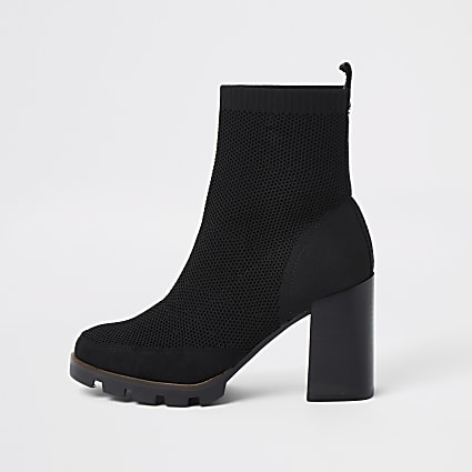 Black knitted chunky ankle boots
