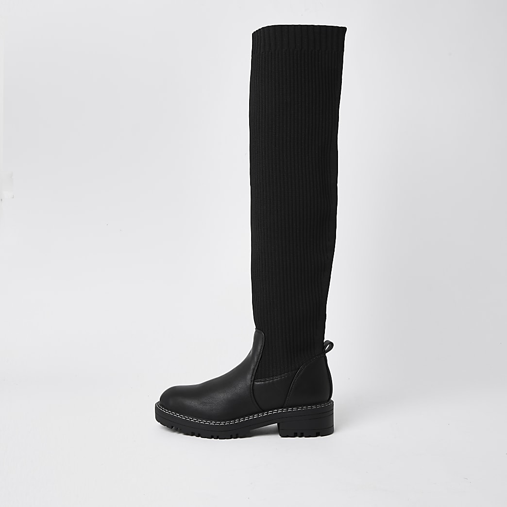 Black knitted chunky high leg boots