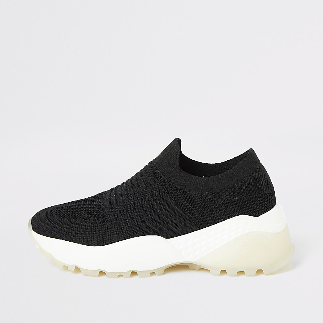 Black knitted chunky sole runner trainers