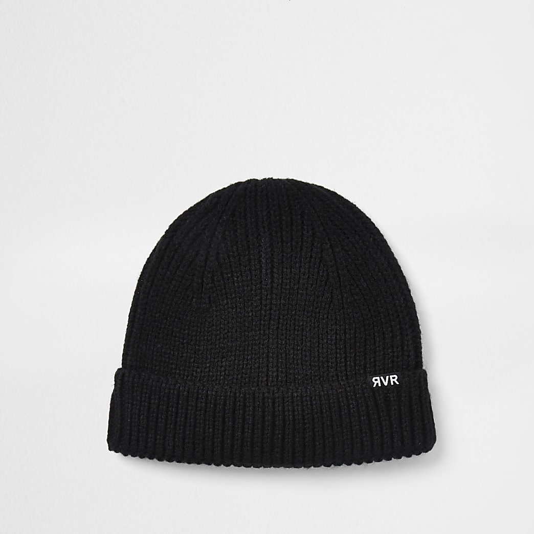 Black knitted docker beanie hat