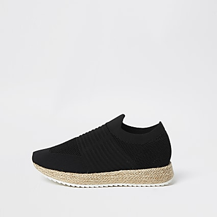 Black knitted espadrille slip on trainer