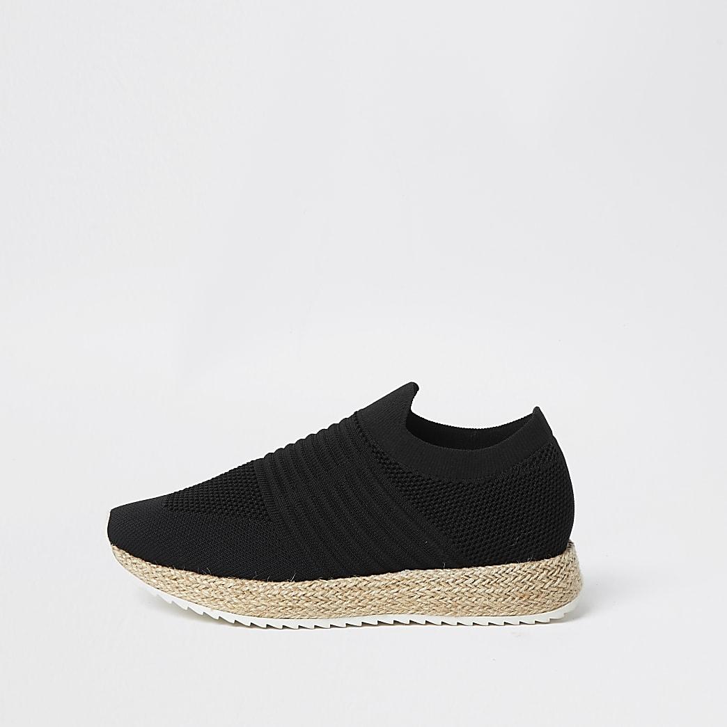 Black knitted espadrille slip on trainer