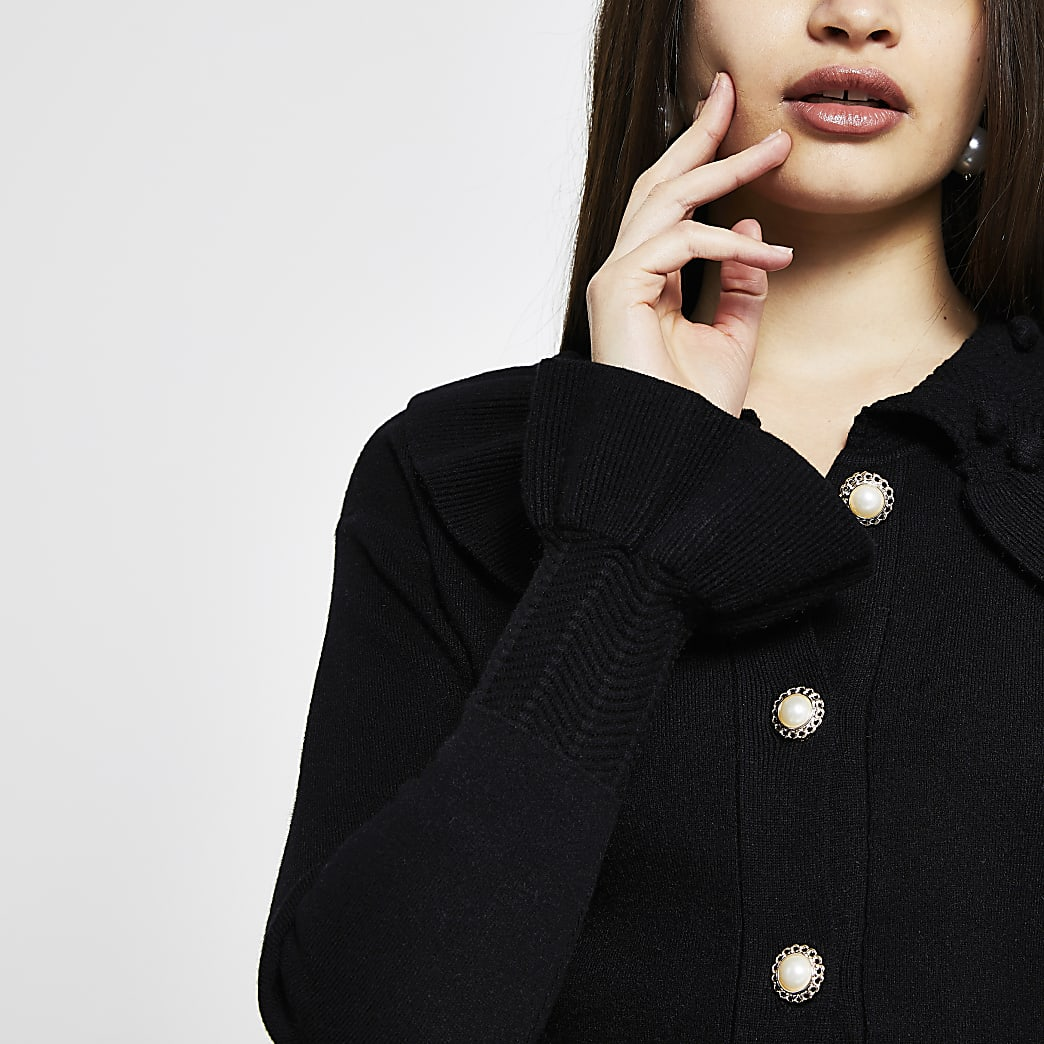 Black knitted frill collar cardigan