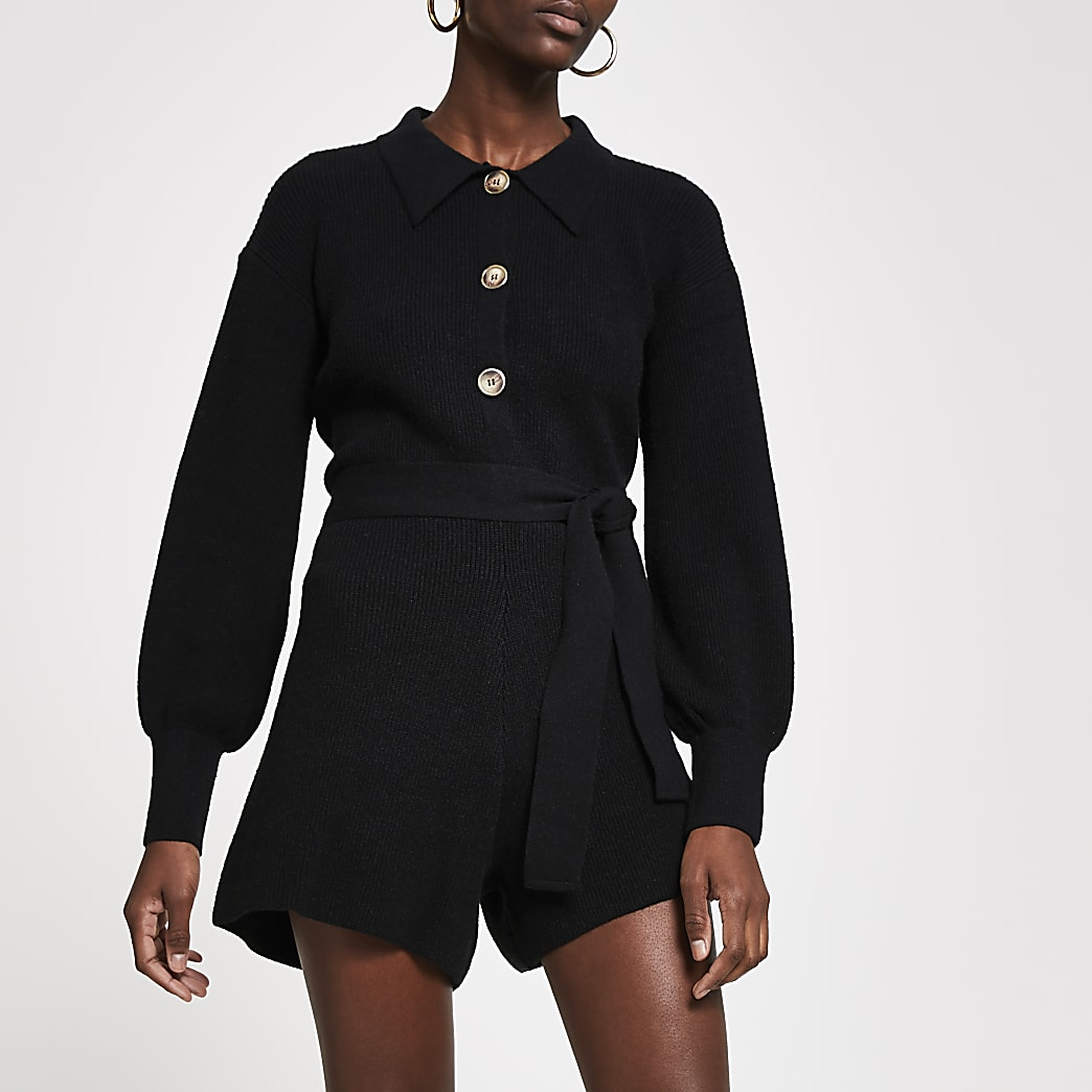Black knitted gold button detail playsuit