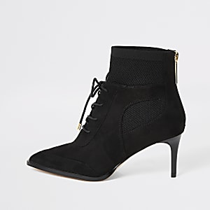 Black knitted lace-up heeled boots