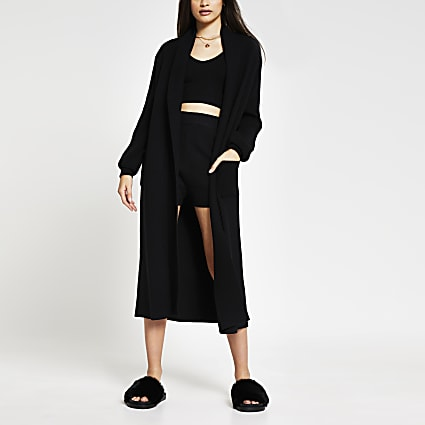 Black knitted maxi cardigan