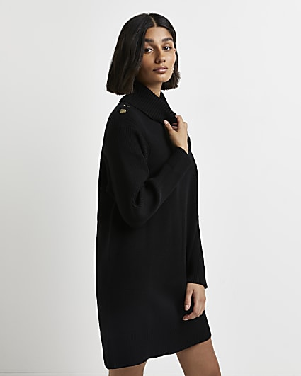 Black knitted mini dress