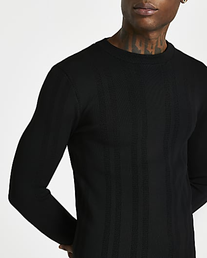 Black knitted muscle fit crew neck jumper