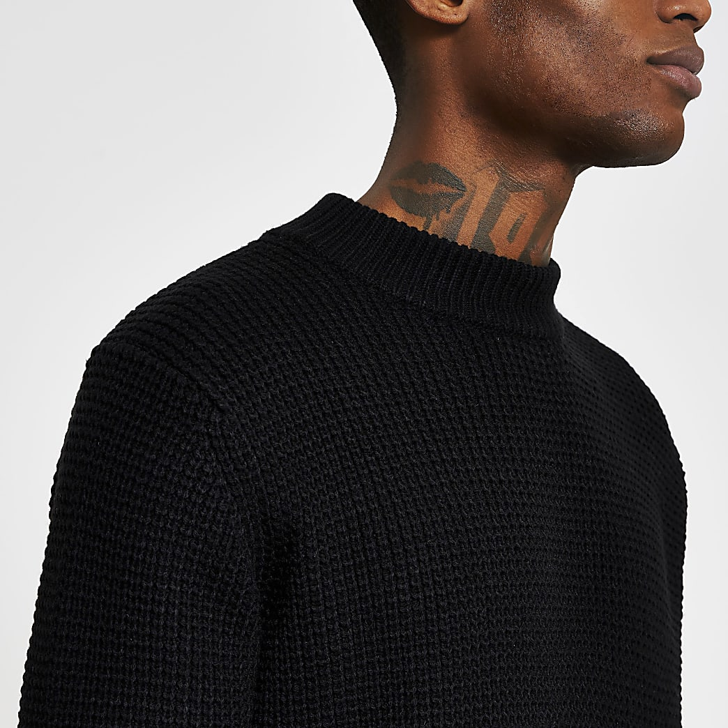 Black knitted waffle slim fit jumper