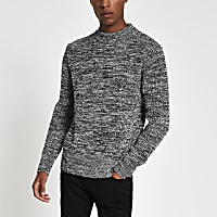 Black knitted waffle slim fit jumper
