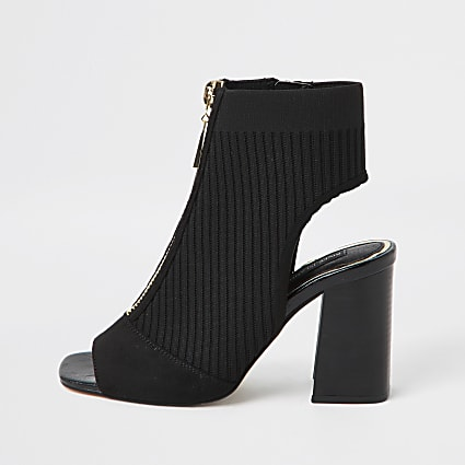 Black knitted zip front shoeboots