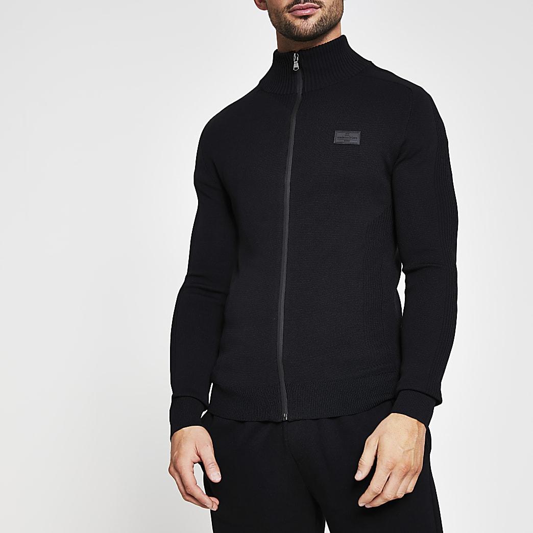Black knitted zip through long sleeve jumper