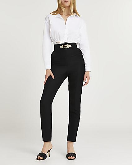 Black knot front cigarette trouser
